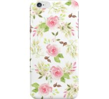 Pink green watercolor romantic roses floral pattern iPhone Case/Skin