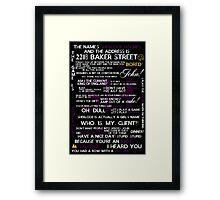Sherlock Holmes Quotes Print Framed Print
