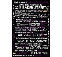 Sherlock Holmes Quotes Print Photographic Print