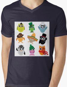 Cute cartoon owls wearing hats Mens V-Neck T-Shirt