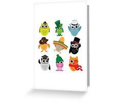 Cute cartoon owls wearing hats Greeting Card