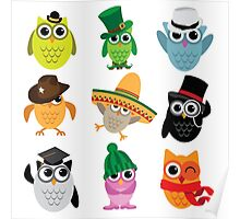 Cute cartoon owls wearing hats Poster