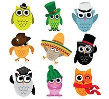 Cute cartoon owls wearing hats Photographic Print
