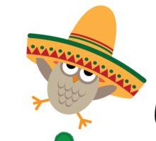 Cute cartoon owls wearing hats Sticker