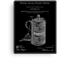 Gunpowder Can Patent - Black Canvas Print