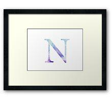 Blue Nu Watercolor Letter Framed Print