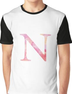 Pink Nu Watercolor Letter Graphic T-Shirt