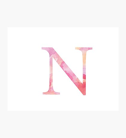 Pink Nu Watercolor Letter Photographic Print