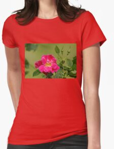 Pink Garden Rose Womens Fitted T-Shirt