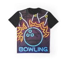 Neon Bowling Sign Graphic T-Shirt