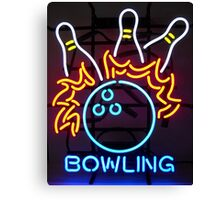 Neon Bowling Sign Canvas Print