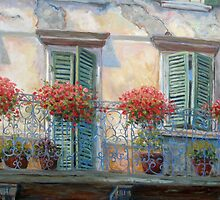 Red Floral Balcony by Joanne Morris
