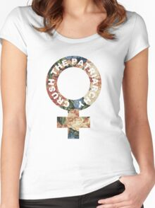Crush the patriarchy - floral Women's Fitted Scoop T-Shirt