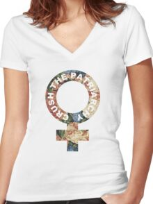 Crush the patriarchy - floral Women's Fitted V-Neck T-Shirt