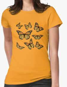 Orange Monarch Butterfly Womens Fitted T-Shirt
