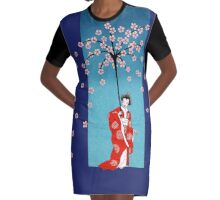 Spring Snow Parasol Graphic T-Shirt Dress