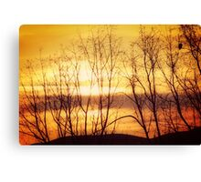 Sunrise Looking East Up Columbia River Gorge Canvas Print