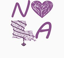 I heart NOLA (Purple) Womens Fitted T-Shirt