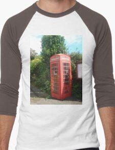 British, red, phone box Men's Baseball ¾ T-Shirt