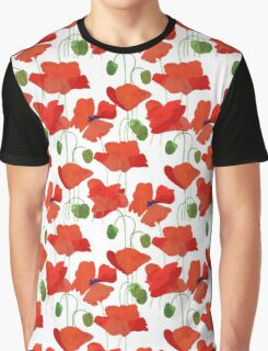 Scarlet Field Poppies on White Background Graphic T-Shirt
