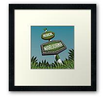 Retro Medical Marijuana Sign in marijuana field Framed Print