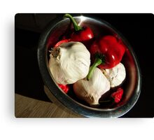 Garlic and peppers Canvas Print