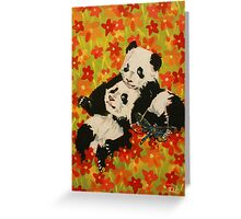 Panda Cubs in Orange Flowers Greeting Card