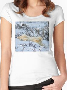 Yoga Bear slide Women's Fitted Scoop T-Shirt