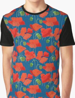Scarlet Field Poppies on Blue Background Graphic T-Shirt
