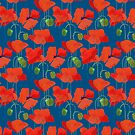 Scarlet Field Poppies on Blue Background by Judy Adamson