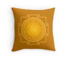 Glowing Sri Chakra Pillow - Gold Throw Pillow