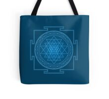 Glowing Sri Chakra Pillow - Blue Tote Bag