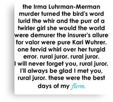 Rural Juror Lyrics Canvas Print