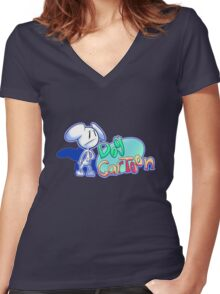 "Dogs and Tony Harl ""Dog Cartoon"" Design Women's Fitted V-Neck T-Shirt"