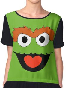 Oscar the Grouch face Chiffon Top