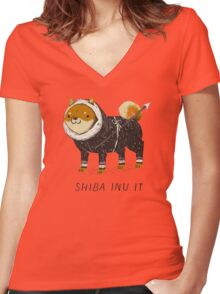 shiba inu-it Women's Fitted V-Neck T-Shirt