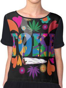 Sixties style mod pop art psychedelic colorful Toke marijuana design Chiffon Top