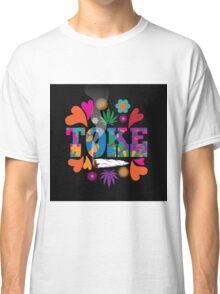 Sixties style mod pop art psychedelic colorful Toke marijuana design Classic T-Shirt