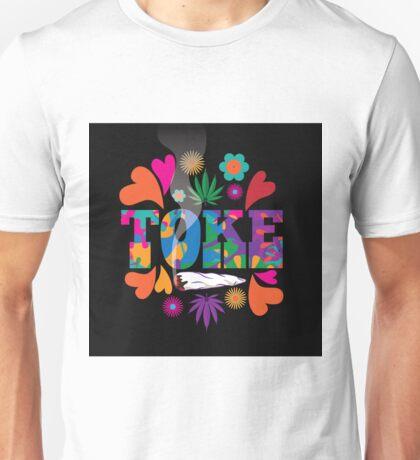 Sixties style mod pop art psychedelic colorful Toke marijuana design Unisex T-Shirt