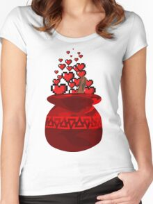 Red Potion Hearts w/o Cartridge Women's Fitted Scoop T-Shirt