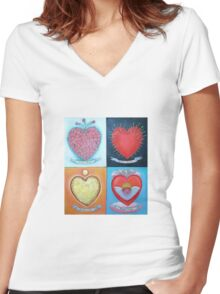 Corazones Women's Fitted V-Neck T-Shirt