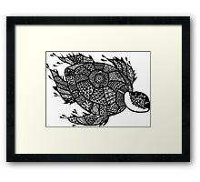 Turtle Black and White Doodle Art Framed Print