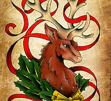 Christmas Reindeer  by damasktattoo
