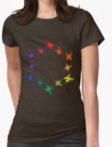 Rainbow Butterflies Womens Fitted T-Shirt