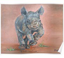 Happy Rhino Poster