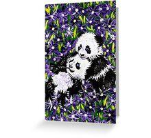 Panda Cubs in Purple Greeting Card
