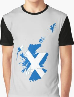 Flag Map of Scotland  Graphic T-Shirt