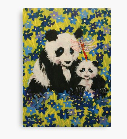 Mother and Cub in Blue Canvas Print