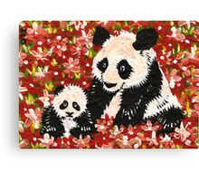 Pandas in Orange Canvas Print