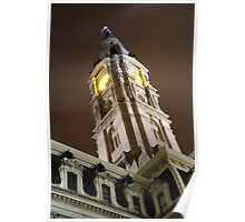 Philadelphia City Hall Clock Tower at Night Poster